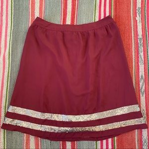 EUC Burgundy Gold Sparkle DownEast Skirt